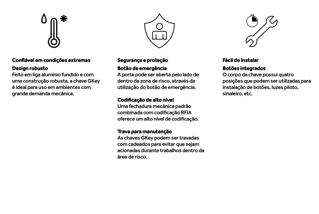 Características da chave de segurança GKey