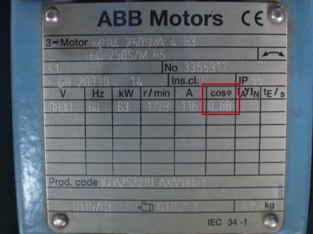 """Fator de Potência em motor ABB. Demonstrado como """"cos φ"""""""
